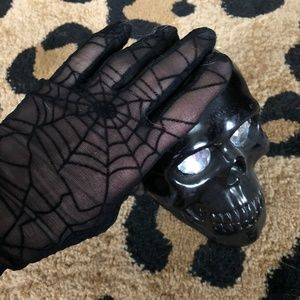 Goth girl glam nylon spiderweb stretch gloves